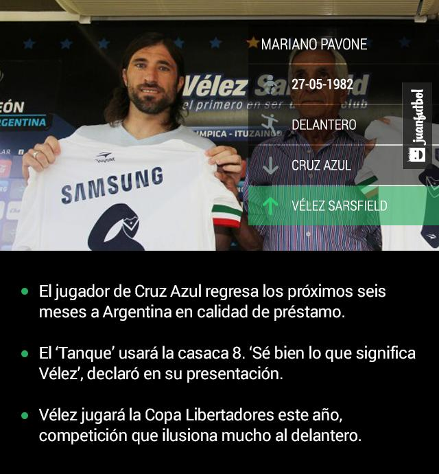 Mariano Pavone es nuevo jugador de Vélez Sarsfield por los próximos seis meses