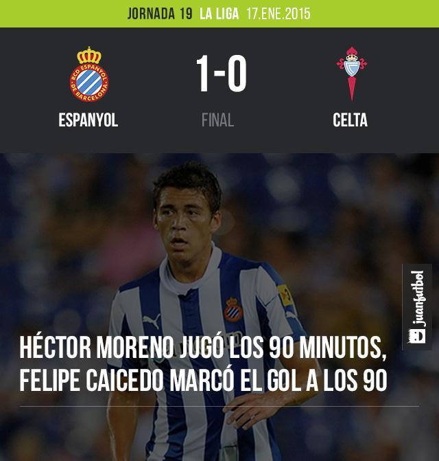 El Espanyol de Barcelona venció al Celta de Vigo 1-0 con gol de Felipe Caicedo al minuto 90