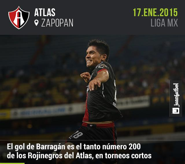 Martín Barragán marcó el gol número 200 del Atlas en torneos cortos