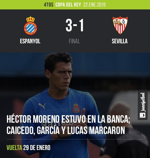 Héctor Moreno se quedó en la banca los 90 minutos en el triunfo del Espanyol 3-1 sobre el Sevilla