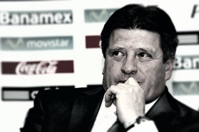 Miguel Herrera durante una conferencia de prensa con la selección mexicana.