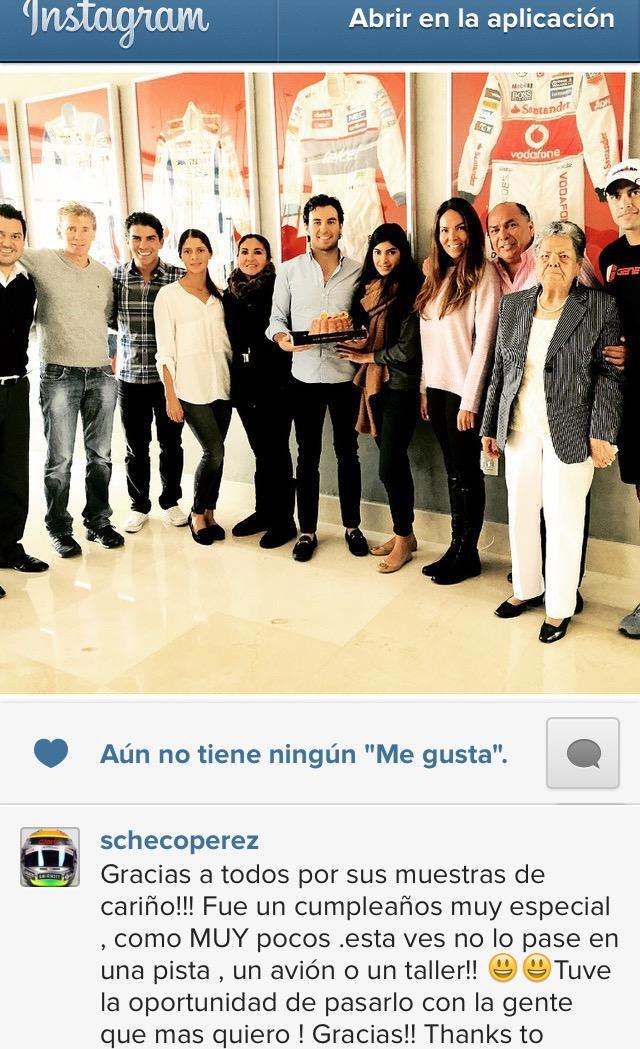 Checo Pérez agradece las felicitaciones en su cumpleaños.