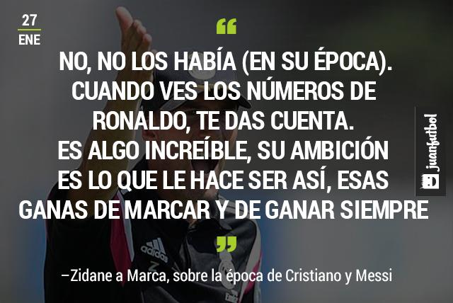 Zidane reconoce que en su época no había un Messi o un Cristiano
