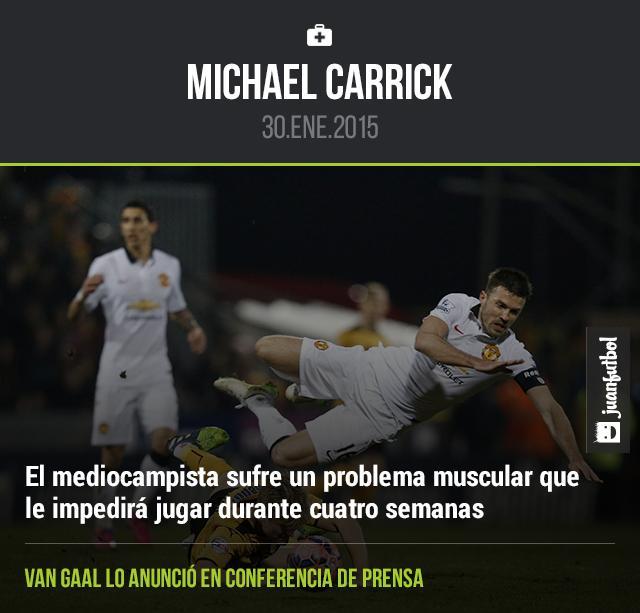 Michael Carrick estará fuera cuatro semanas debido a un problema muscular