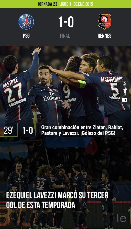 PSG vence 1-0 al Rennes con golazo de Lavezzi