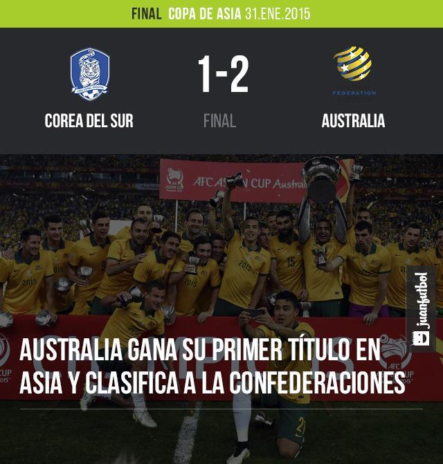 Australia derrotó 1-2 a Corea del Sur y ganó la Copa de Asia por primera vez