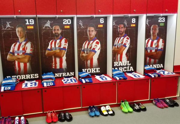 El vestidor del Atlético de Madrid ya está listo para el derbi de Madrid