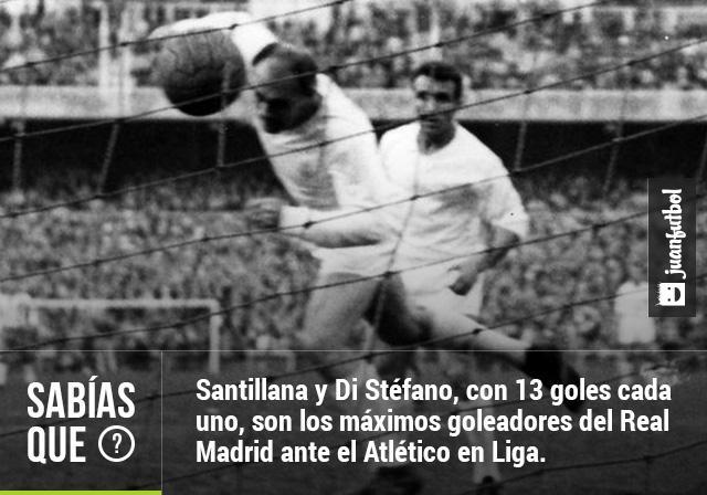 Santillana y Di Stéfano, con 13 goles cada uno, son los máximos goleadores del Real Madrid ante el Atlético en Liga