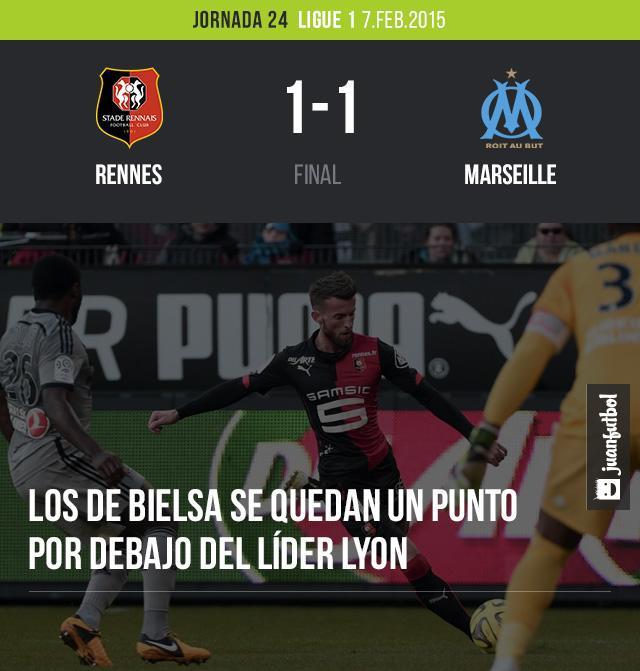 Rennes empata 1-1 con Marsella en la Ligue 1