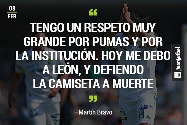 """""""Tengo un respeto muy grande por Pumas y por la institución. Hoy me debo a León, y defiendo la camiseta a muerte"""", Martín Bravo"""