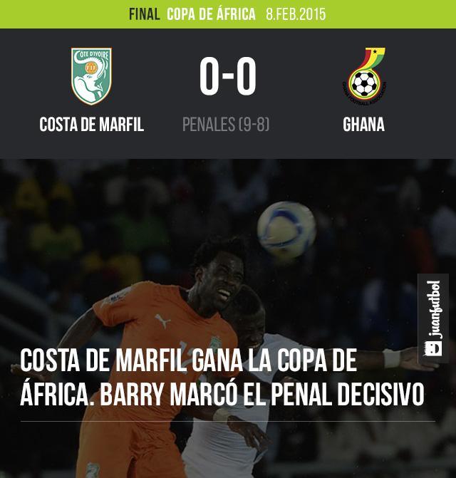Costa de Marfil gana 9-8 a Ghana en penales