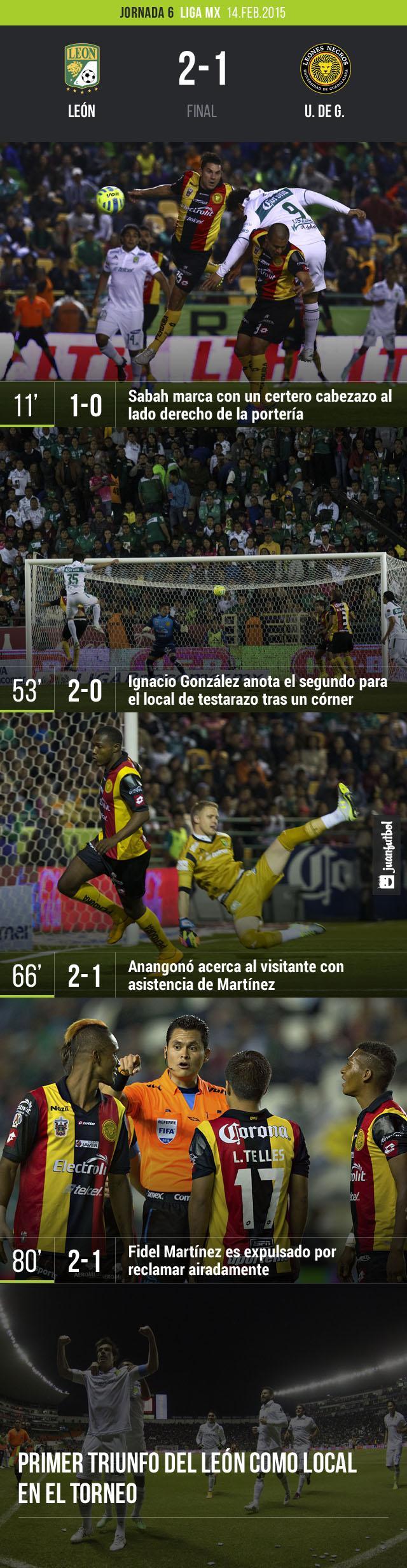 León dio cuenta de U. de G. y logró su primer triunfo como local en el torneo Clausura 2015