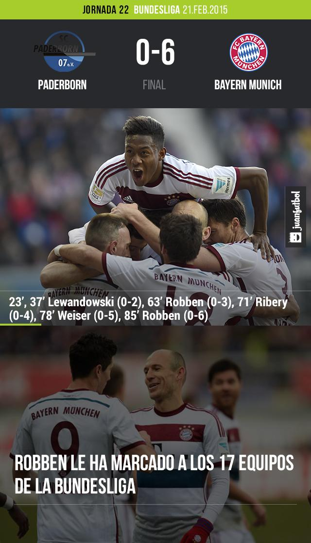 Bayern Munich golea 6-0 al Paderborn en la jornada 22 de la Bundesliga