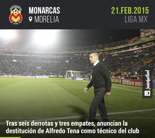 Destituyen a Alfredo Tena como técnico de Monarcas Morelia