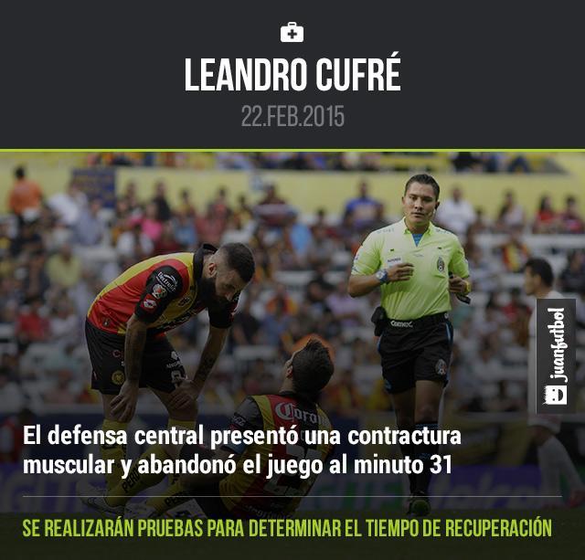 Leandro Cufré abandonó el encuentro entre Leones Negros y Tijuana por una lesión muscular al minuto 31