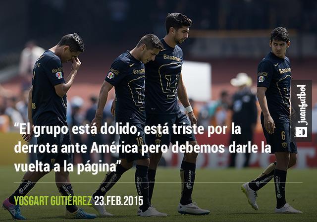 Yosgart Gutiérrez señaló que en Pumas están dolidos por la derrota ante América