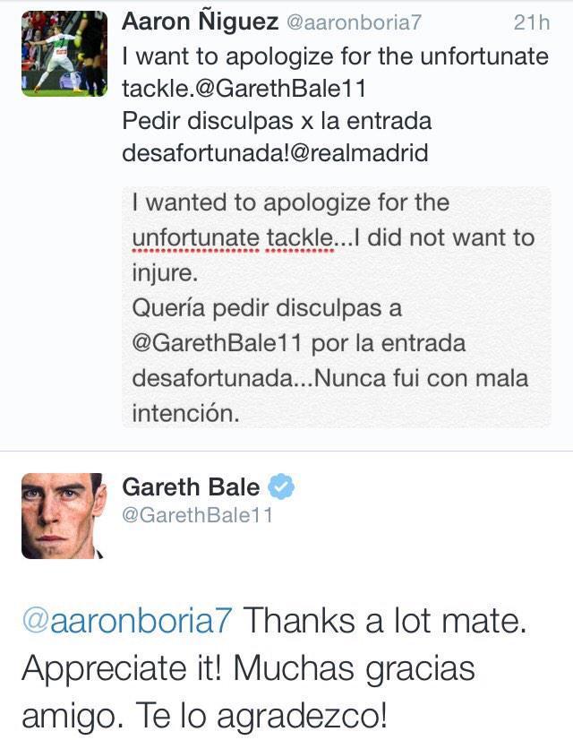 Aaron Ñiguez jugador del Elche se disculpó con Gareth Bale por una fuerte entrada