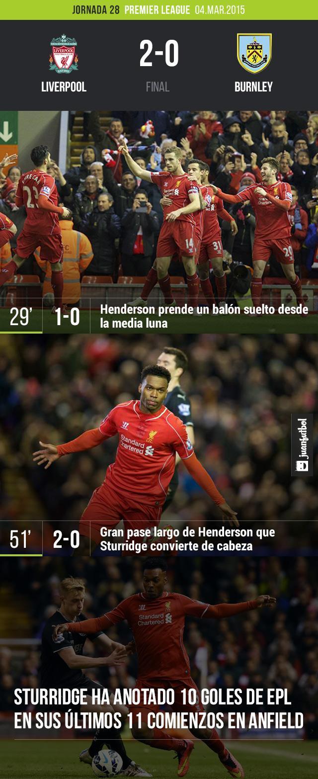 Liverpool derrotó 2-0 a Burnley con goles de Henderson y Sturridge