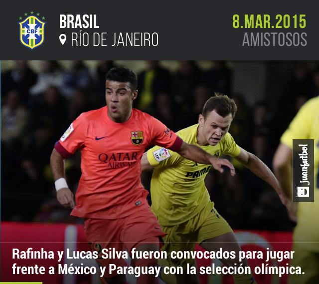 Rafinha y Lucas Silva fueron convocados por el técnico de la selección olímpica brasileña para jugar a finales de marzo os amistosos frente a México y Paraguay.