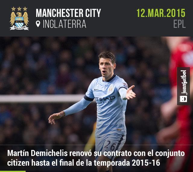 Martín Demichelis renovó con el Manchester City hasta el final de la temporada 2015-16.