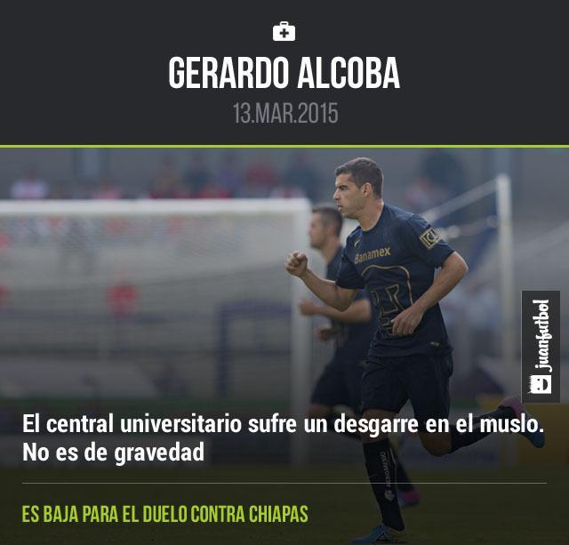 Gerardo Alcoba sufre un desgarre en el muslo y es baja para enfrentar a Chiapas.