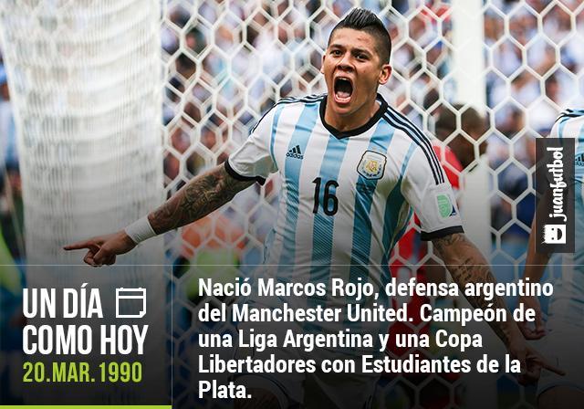 Marcos Rojo, defensa del Manchester United cumple 25 años.