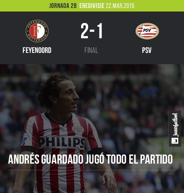 PSV cayó 2-1 ante Feyenoord, Andrés Guardado jugó todo el partido