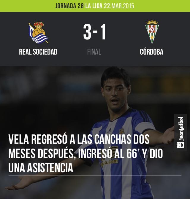 Real Sociedad vence 3-1 en Anoeta al Córdoba, Carlos Vela regresó después de 2 meses al minuto 66 y puso la asistencia del 3-1.