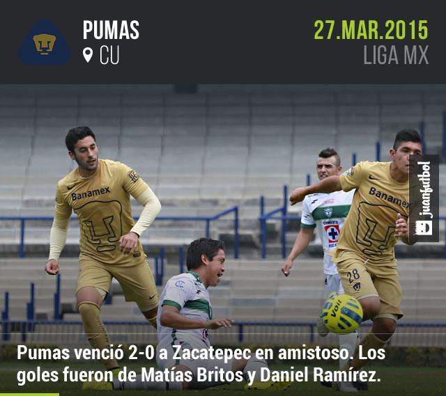 Pumas venció 2-0 a Zacatepec en el Olímpico Universitario