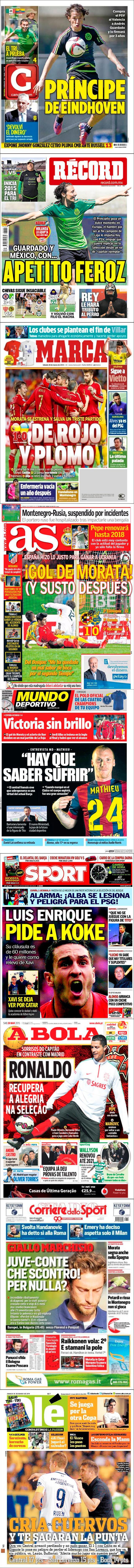 La prensa deportiva más importante del 28 de marzo de 2015.