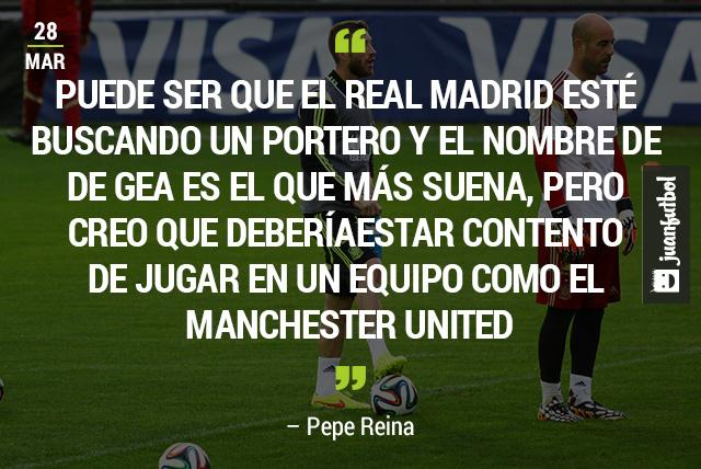 Pepe Reina aconseja a De Gea quedarse en el United.