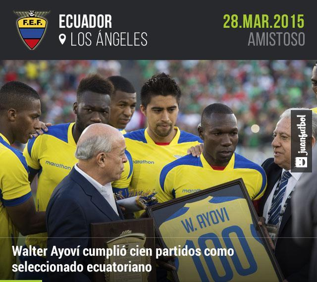 Walter Ayoví cumplió cien partidos con Ecuador