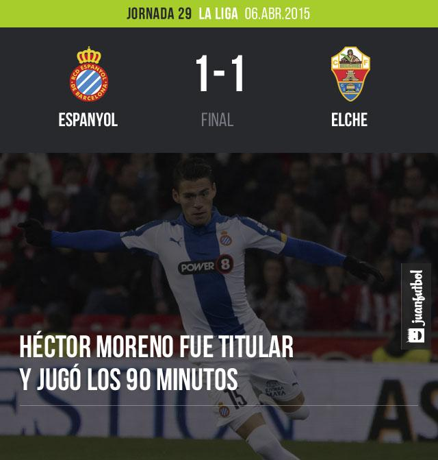 Héctor Moreno, defensa del Espanyol, fue titular en el empate a un gol que su equipo obtuvo ante el Elche.