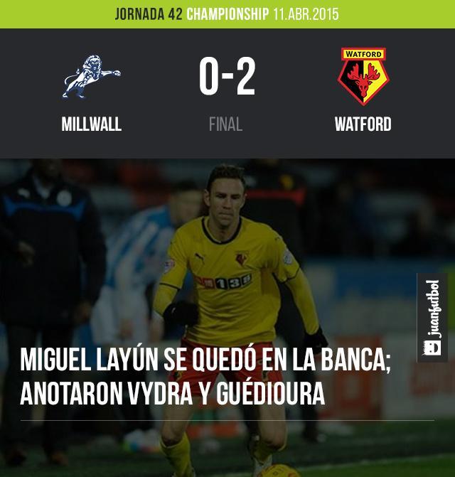 Miguel Layún no vio participación en la victoria 2-0 del Watford frente al Millwall en la Championship.