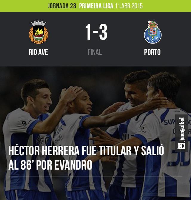 El Porto del mexicano Héctor Herrera venció al Rio Ave por 3-1, Herrera jugó 86 minutos. Los goles fueron de Quaresma, Danilo y Hernani.