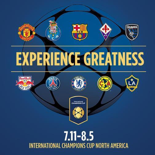 Anuncian la International Champions Cup North América, en la que participarán Manchester United, Porto, Barcelona. Fiorentina, San Jose Earthquakes, Red Bull, Paris, Chelsea, América y Galaxy