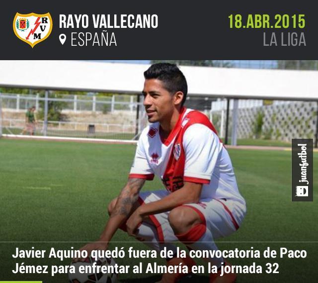 Javier Aquino quedó fuera de la convocatoria del Rayo Vallecano para enfrentar al Almería en la jornada 32 de la Liga.