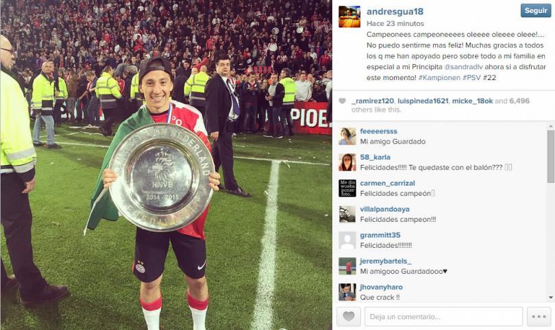 Andrés Guardado festeja el campeonato del PSV
