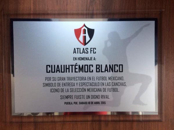 Atlas le entregó un reconocimiento al Cuau por su trayectoria