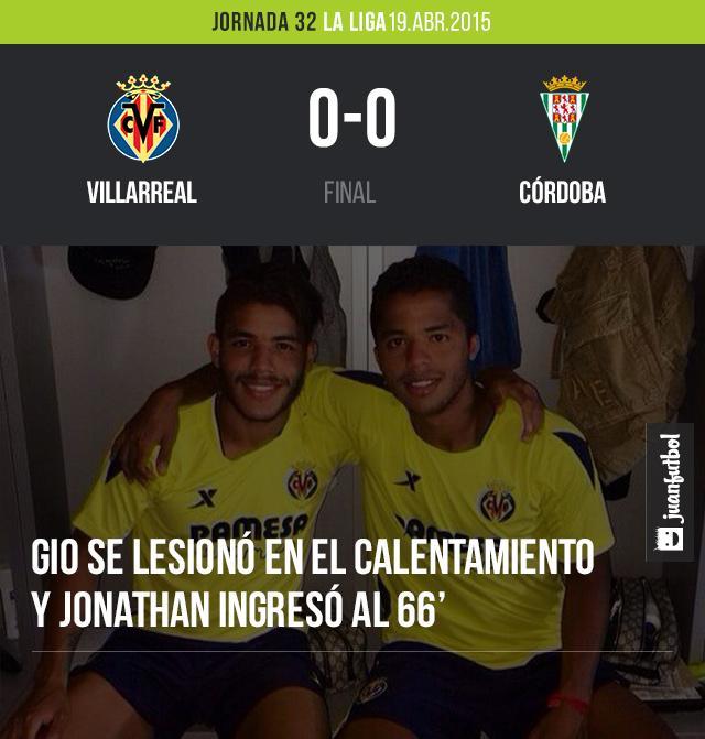 Giovani se lesionó en el calentamiento previo del juego y Jonathan ingresó a los 66 minutos en el empate del Villarreal frente al Córdoba a cero goles.