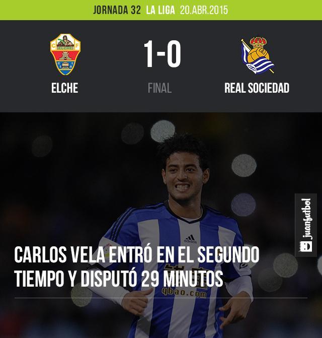 Carlos Vela disputó 29 minutos en la derrota de la Real Sociedad
