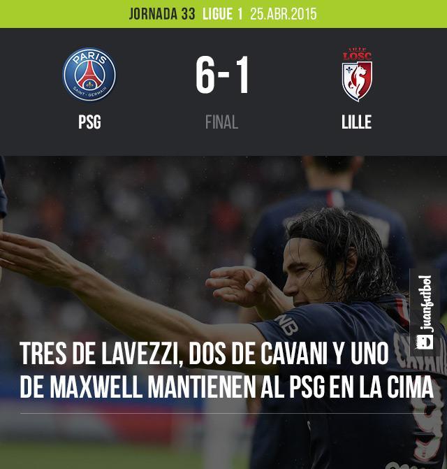 PSG derrota a Lille 6-1 en la Ligue 1 con tres goles de Lavezzi, dos de Cavani y uno de Maxwell