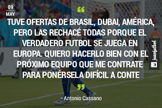 Antonio Cassano, ex jugador del Parma, quiere regresar al terreno de juego con un equipo europeo