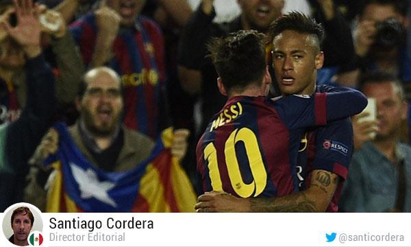 Neymar, en celebración con Messi