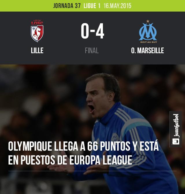 Olympique Marseille vence 4-0 al Lille y se mantiene en puestos de Europa League