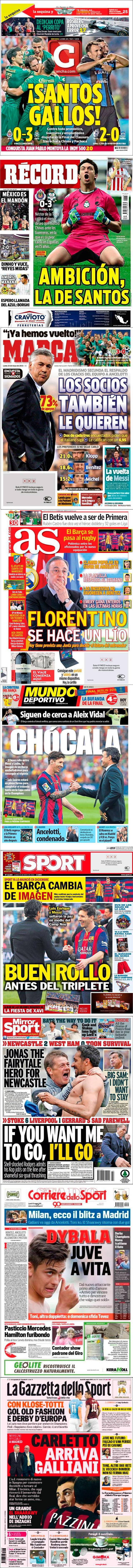 La prensa deportiva más importante del 25 de mayo de 2015.