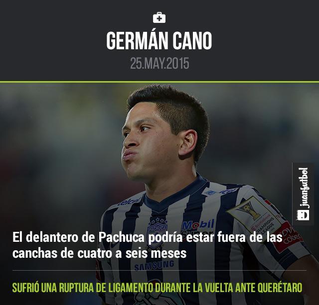 Germán Cano, delantero del Pachuca, podría perderse el Apertura 2015 por una lesión de ruptura de ligamento cruzado