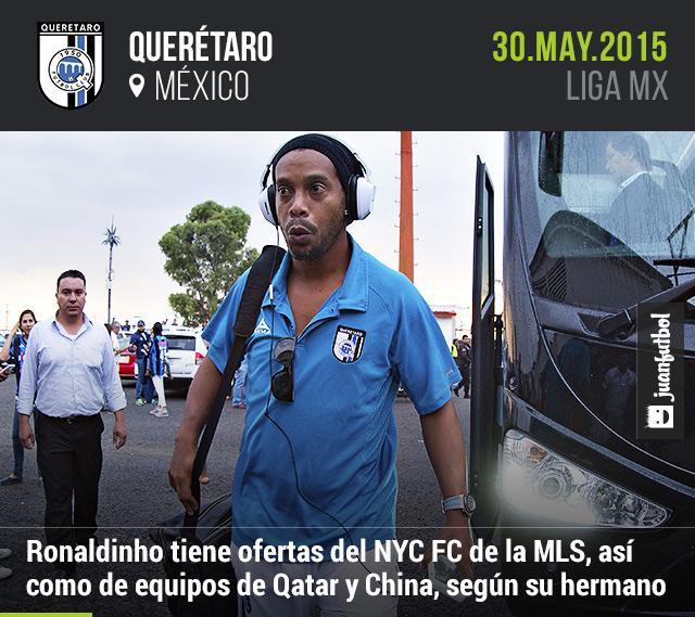 Ronaldinho tiene ofertas del New York City FC de la MLS, así como de China y Qatar