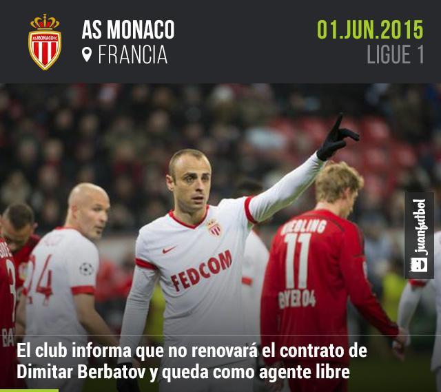 Monaco informa que Berbatov no continuará con el club francés en la próxima temporada