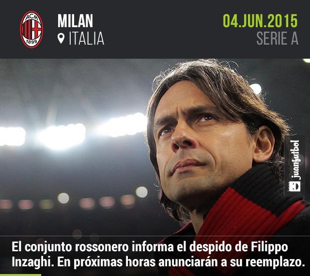 Milan informa el despido de Filippo Inzaghi